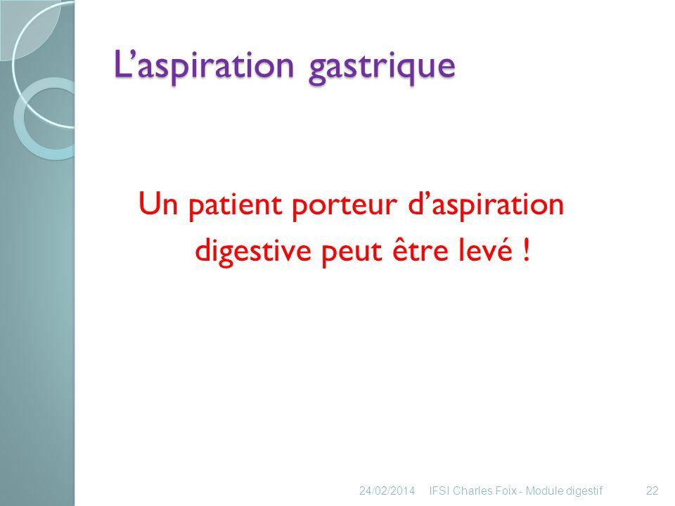 La nutrition entérale 24/02/2014IFSI Charles Foix - Module digestif23