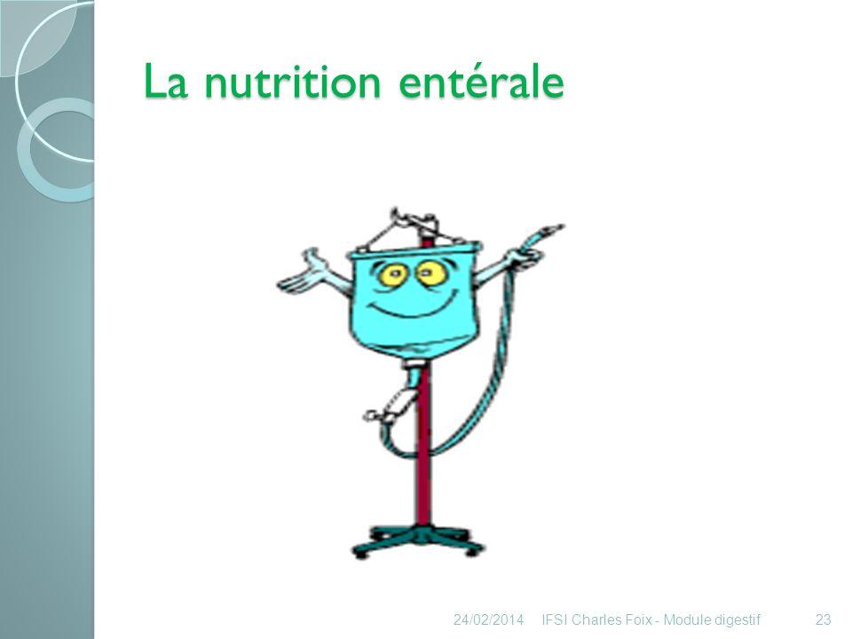 La nutrition entérale Définition : nutrition ou alimentation entérale Administration directe de nutriments dans lestomac ou lintestin grêle.