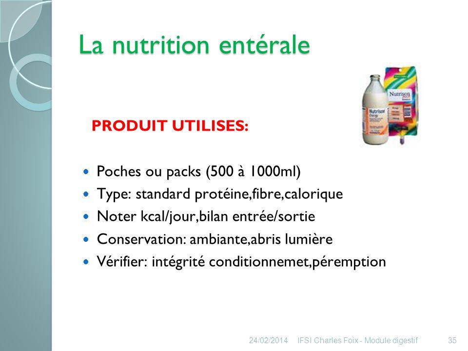 La nutrition entérale Système dalimentation: 1) Par gravité: goutte à goutte tubulure adaptée (1ml = 15 gttes) Précaution: Avant, après (ttt, alimentation) rinçage sonde avec 50ml eau tiède.