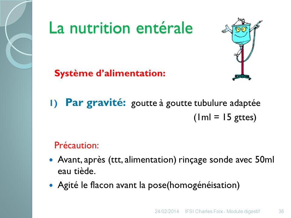 La nutrition entérale 2) Par régulateur de débit: (nutripompe) Débit: ml/h MEILLEURE METHODE !!!!!.