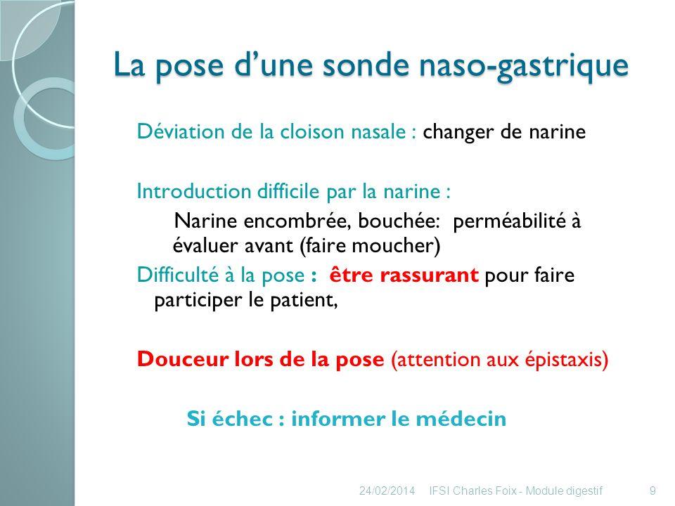 La pose dune sonde naso- gastrique 24/02/2014IFSI Charles Foix - Module digestif10