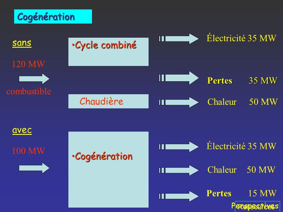 Perspectives Production simultanée, à partir dune seule source dénergie primaire, dénergie mécanique et de chaleur. Dans une majorité de cas, lénergie