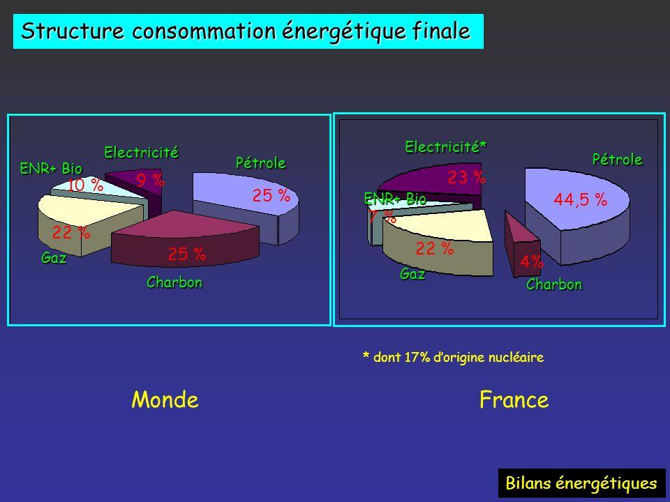 Structure de la consommation dénergie primaire France 2004Monde 2004 Bilans énergétiques