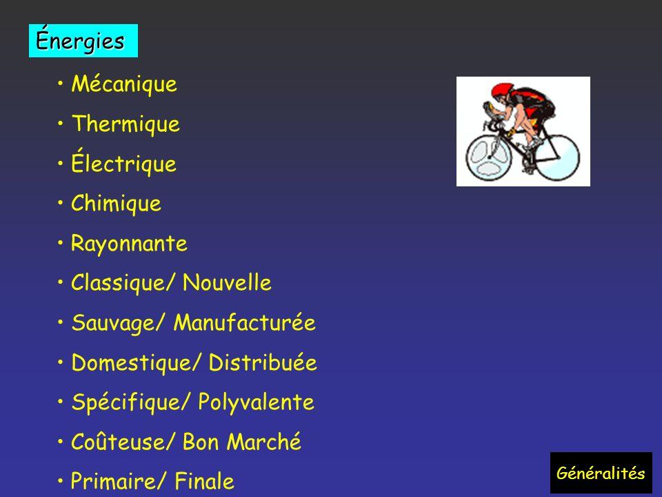 Généralités Mécanique Thermique Électrique Chimique Rayonnante Classique/ Nouvelle Sauvage/ Manufacturée Domestique/ Distribuée Spécifique/ Polyvalente Coûteuse/ Bon Marché Primaire/ Finale Énergies