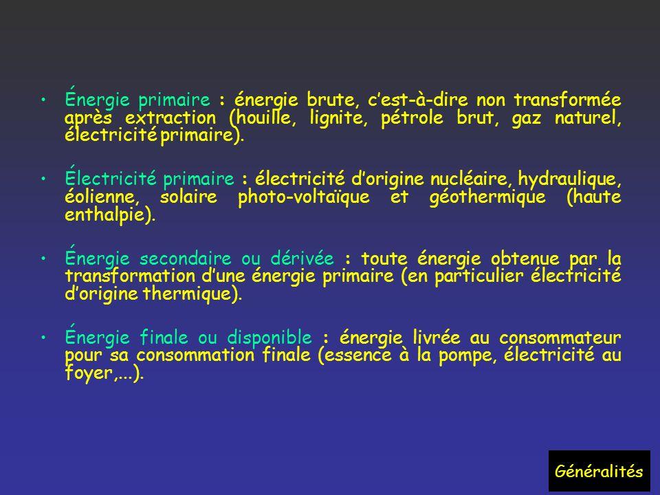 Énergie primaire : énergie brute, cest-à-dire non transformée après extraction (houille, lignite, pétrole brut, gaz naturel, électricité primaire).