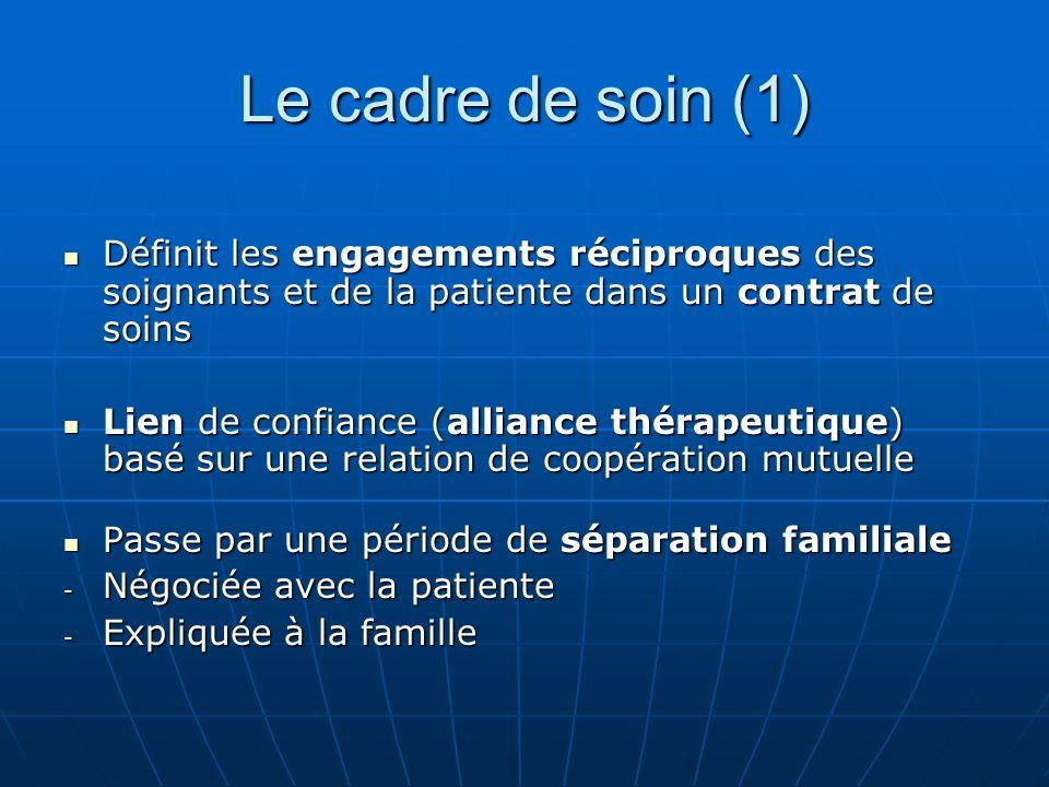 Le cadre de soin (1) Définit les engagements réciproques des soignants et de la patiente dans un contrat de soins Définit les engagements réciproques