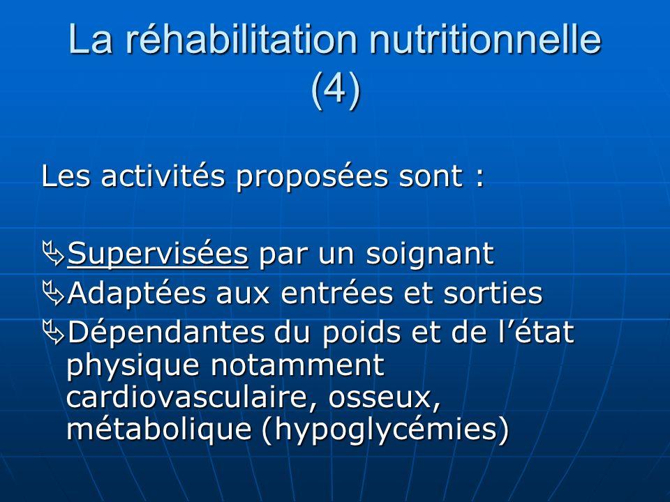 La réhabilitation nutritionnelle (4) Les activités proposées sont : Supervisées par un soignant Supervisées par un soignant Adaptées aux entrées et so