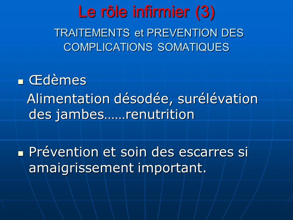 Le rôle infirmier (3) TRAITEMENTS et PREVENTION DES COMPLICATIONS SOMATIQUES Œdèmes Œdèmes Alimentation désodée, surélévation des jambes……renutrition