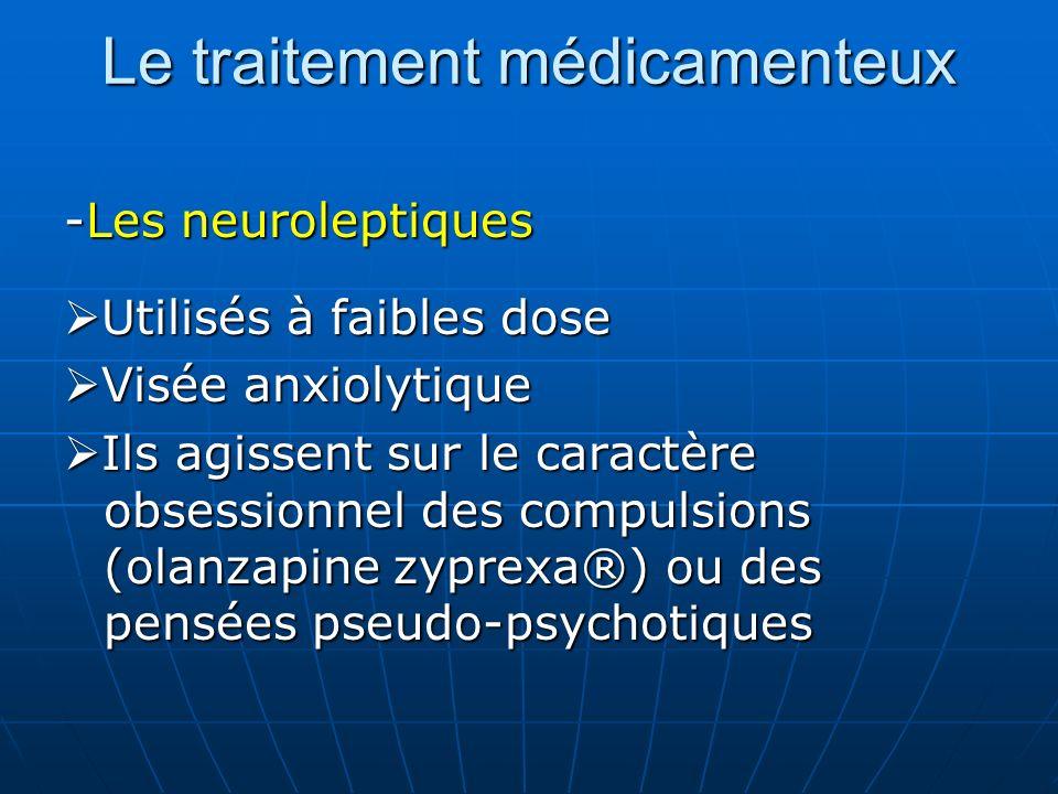 Le traitement médicamenteux -Les neuroleptiques Utilisés à faibles dose Utilisés à faibles dose Visée anxiolytique Visée anxiolytique Ils agissent sur