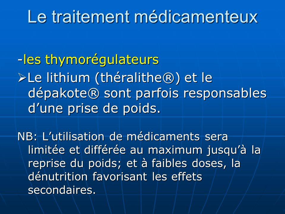 Le traitement médicamenteux -les thymorégulateurs Le lithium (théralithe®) et le dépakote® sont parfois responsables dune prise de poids. Le lithium (