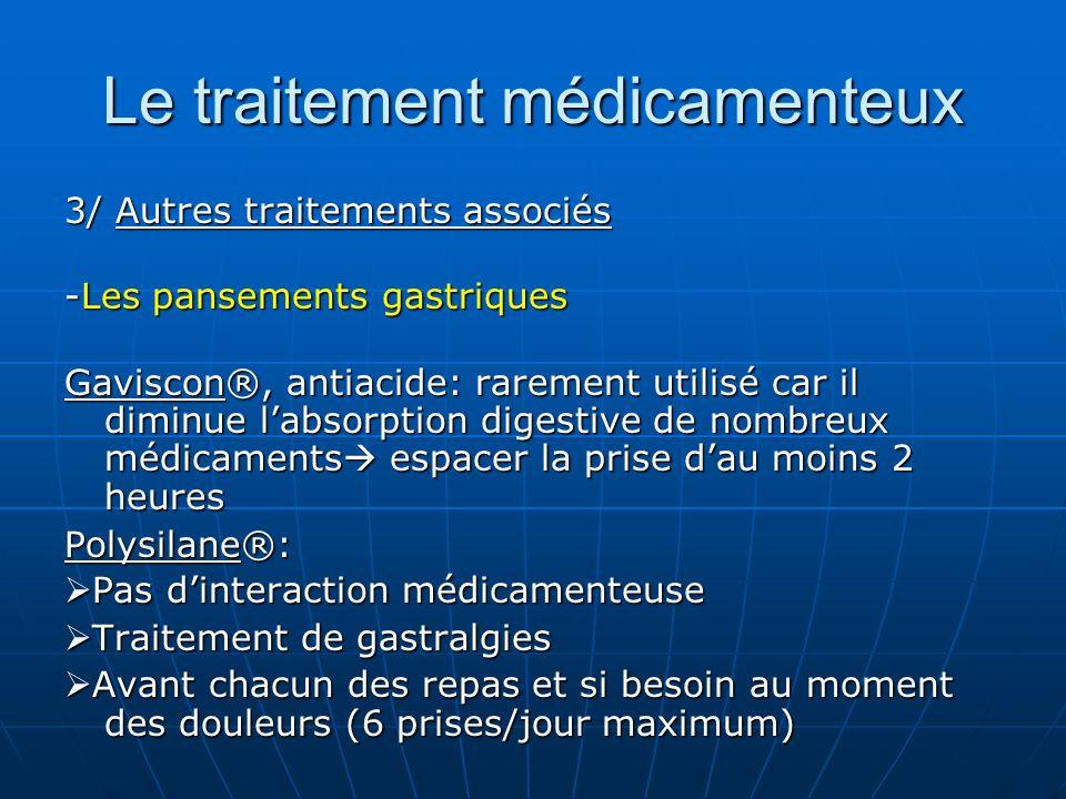 Le traitement médicamenteux 3/ Autres traitements associés -Les pansements gastriques Gaviscon®, antiacide: rarement utilisé car il diminue labsorptio