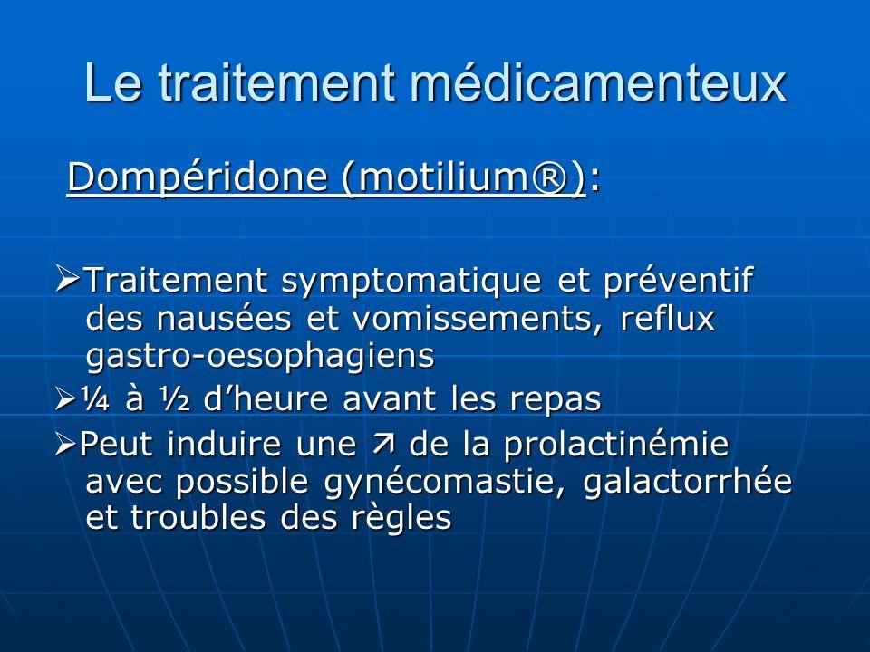 Le traitement médicamenteux Dompéridone (motilium®): Dompéridone (motilium®): Traitement symptomatique et préventif des nausées et vomissements, reflu