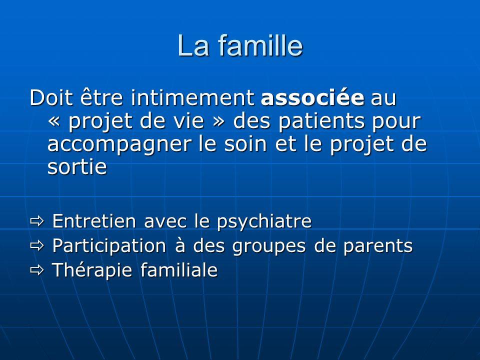 La famille Doit être intimement associée au « projet de vie » des patients pour accompagner le soin et le projet de sortie Entretien avec le psychiatr