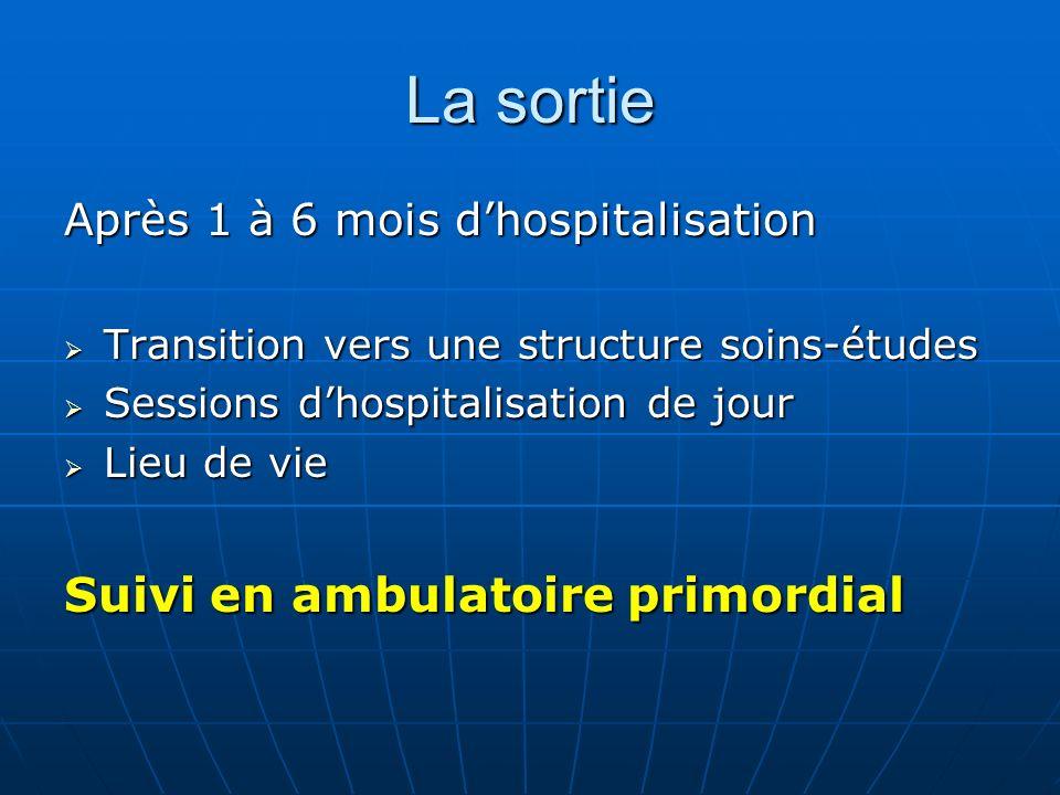 La sortie Après 1 à 6 mois dhospitalisation Transition vers une structure soins-études Transition vers une structure soins-études Sessions dhospitalis
