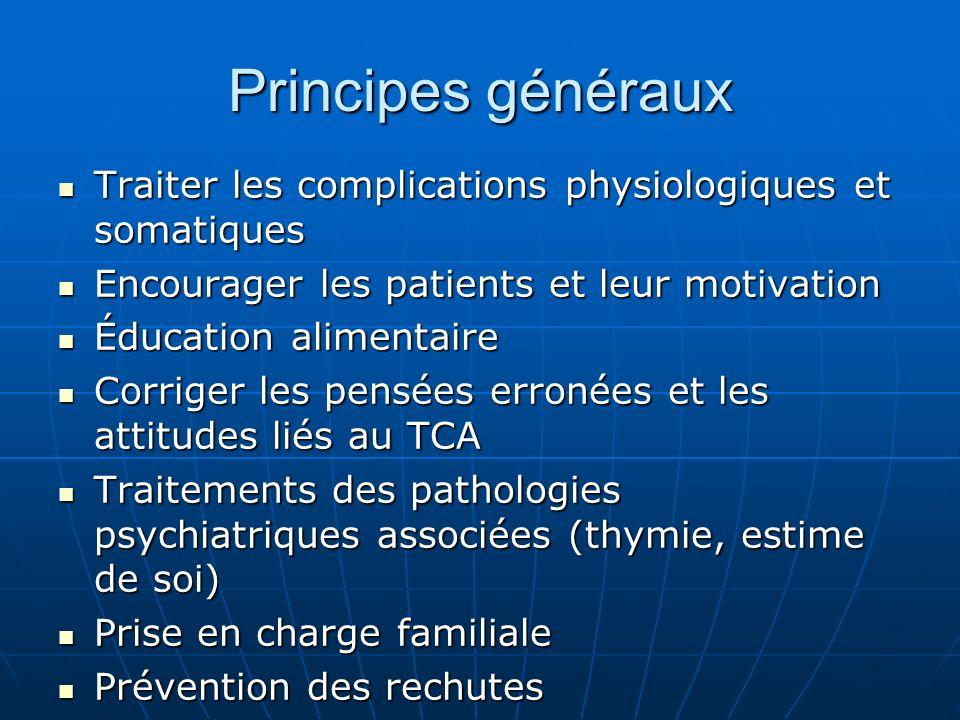 Principes généraux Traiter les complications physiologiques et somatiques Traiter les complications physiologiques et somatiques Encourager les patien