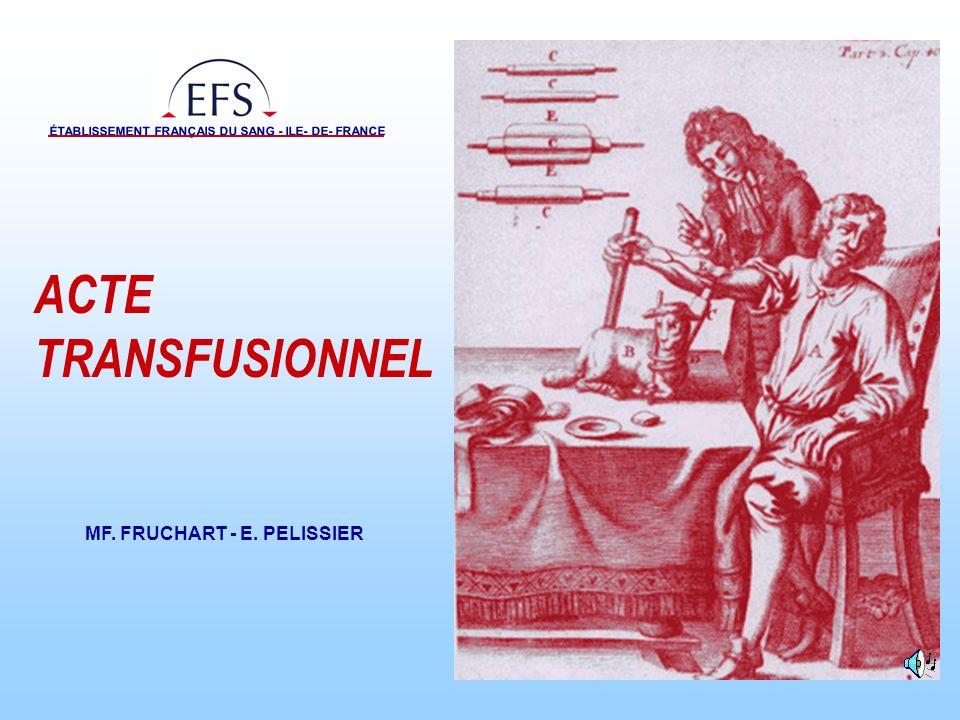 MF.FRUCHART - E.PELISSIER ÉTABLISSEMENT FRANÇAIS DU SANG - ILE-DE-FRANCE Décembre 2006 2 /25 Textes réglementaires Circulaire DGS/DHOS/AFSSAPS n° 03/582 du 15 décembre 2003 relative à la réalisation de lacte transfusionnel