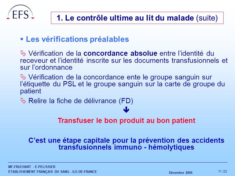 MF.FRUCHART - E.PELISSIER ÉTABLISSEMENT FRANÇAIS DU SANG - ILE-DE-FRANCE Décembre 2006 11 /25 Les vérifications préalables Vérification de la concorda