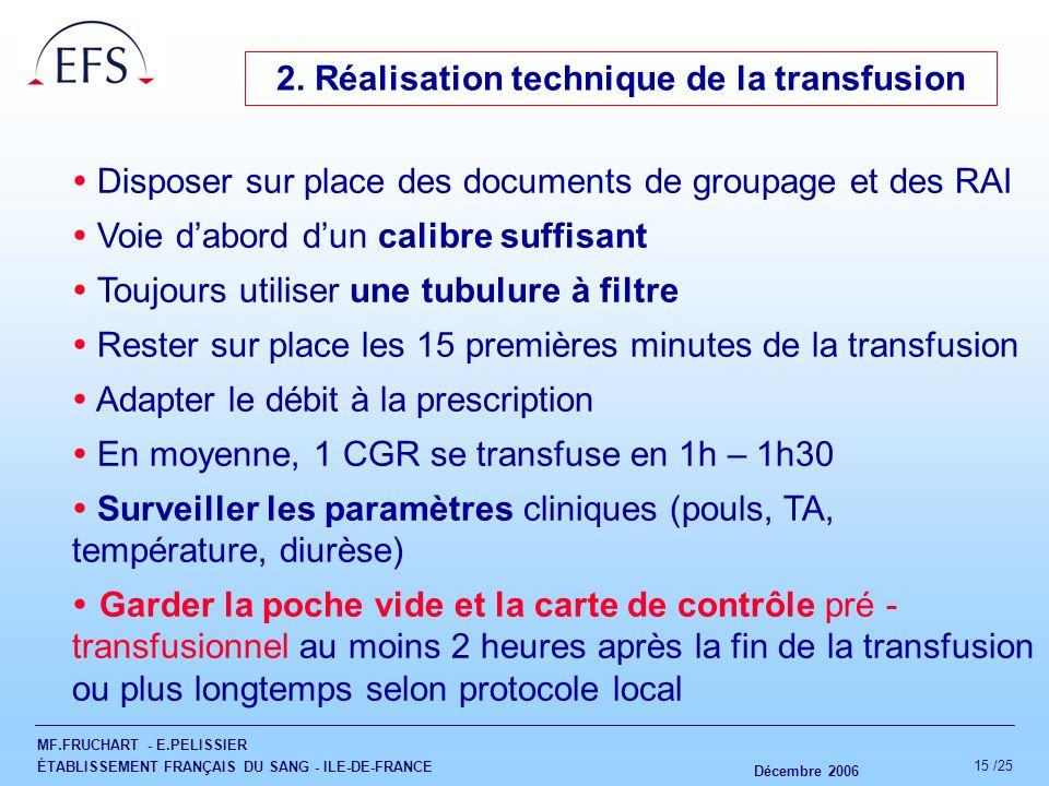 MF.FRUCHART - E.PELISSIER ÉTABLISSEMENT FRANÇAIS DU SANG - ILE-DE-FRANCE Décembre 2006 15 /25 2. Réalisation technique de la transfusion Disposer sur