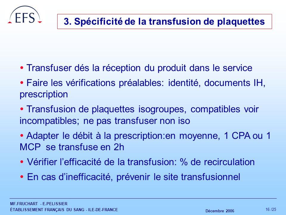MF.FRUCHART - E.PELISSIER ÉTABLISSEMENT FRANÇAIS DU SANG - ILE-DE-FRANCE Décembre 2006 16 /25 3. Spécificité de la transfusion de plaquettes Transfuse