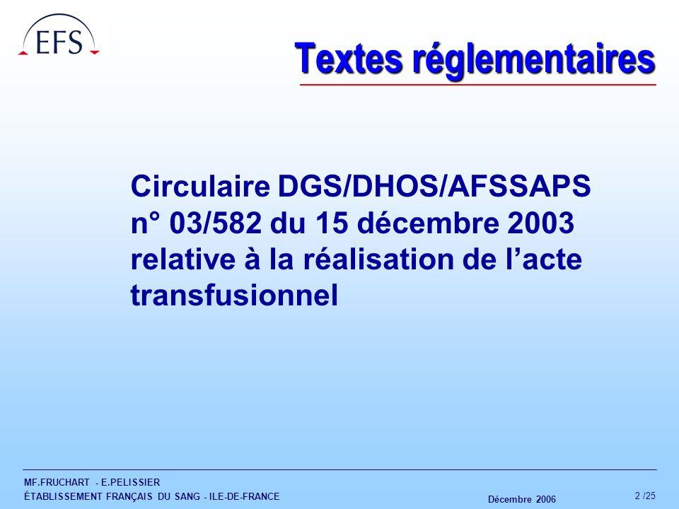 MF.FRUCHART - E.PELISSIER ÉTABLISSEMENT FRANÇAIS DU SANG - ILE-DE-FRANCE Décembre 2006 2 /25 Textes réglementaires Circulaire DGS/DHOS/AFSSAPS n° 03/5