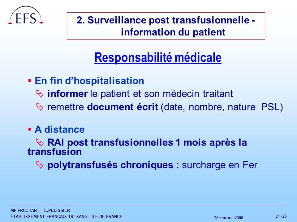 MF.FRUCHART - E.PELISSIER ÉTABLISSEMENT FRANÇAIS DU SANG - ILE-DE-FRANCE Décembre 2006 24 /25 2. Surveillance post transfusionnelle - information du p