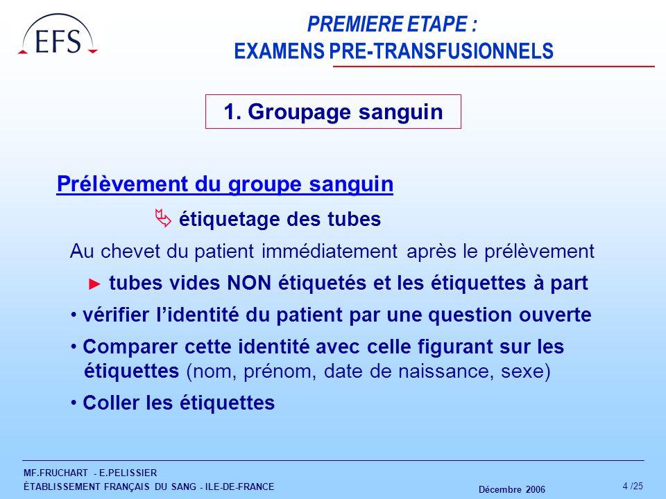 MF.FRUCHART - E.PELISSIER ÉTABLISSEMENT FRANÇAIS DU SANG - ILE-DE-FRANCE Décembre 2006 4 /25 PREMIERE ETAPE : EXAMENS PRE-TRANSFUSIONNELS 1. Groupage