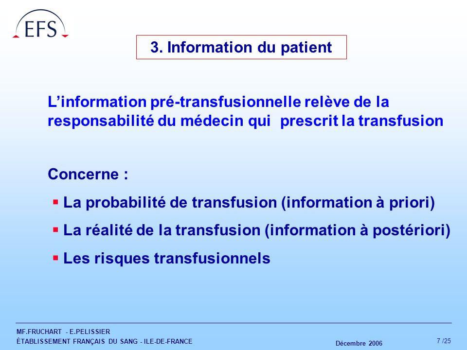 MF.FRUCHART - E.PELISSIER ÉTABLISSEMENT FRANÇAIS DU SANG - ILE-DE-FRANCE Décembre 2006 7 /25 3. Information du patient Linformation pré-transfusionnel