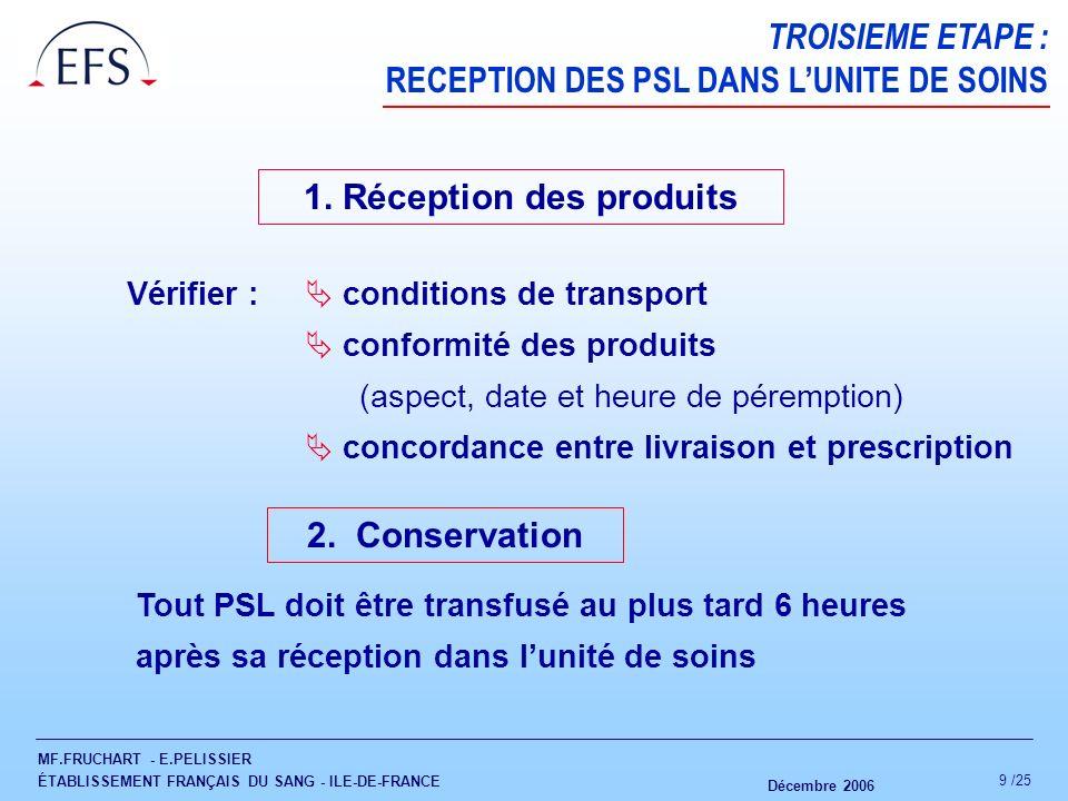 MF.FRUCHART - E.PELISSIER ÉTABLISSEMENT FRANÇAIS DU SANG - ILE-DE-FRANCE Décembre 2006 10 /25 QUATRIEME ETAPE : ACTE TRANSFUSIONNEL « La réalisation de lacte transfusionnel peut être confiée à linfirmièr(e) habilité(e) par sa qualification à lassurer.