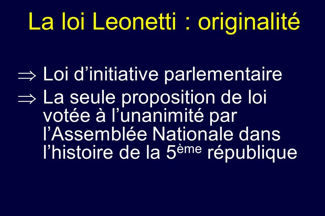 La loi Leonetti : originalité Loi dinitiative parlementaire La seule proposition de loi votée à lunanimité par lAssemblée Nationale dans lhistoire de