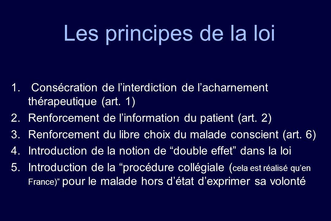 Les principes de la loi 1. Consécration de linterdiction de lacharnement thérapeutique (art. 1) 2.Renforcement de linformation du patient (art. 2) 3.R