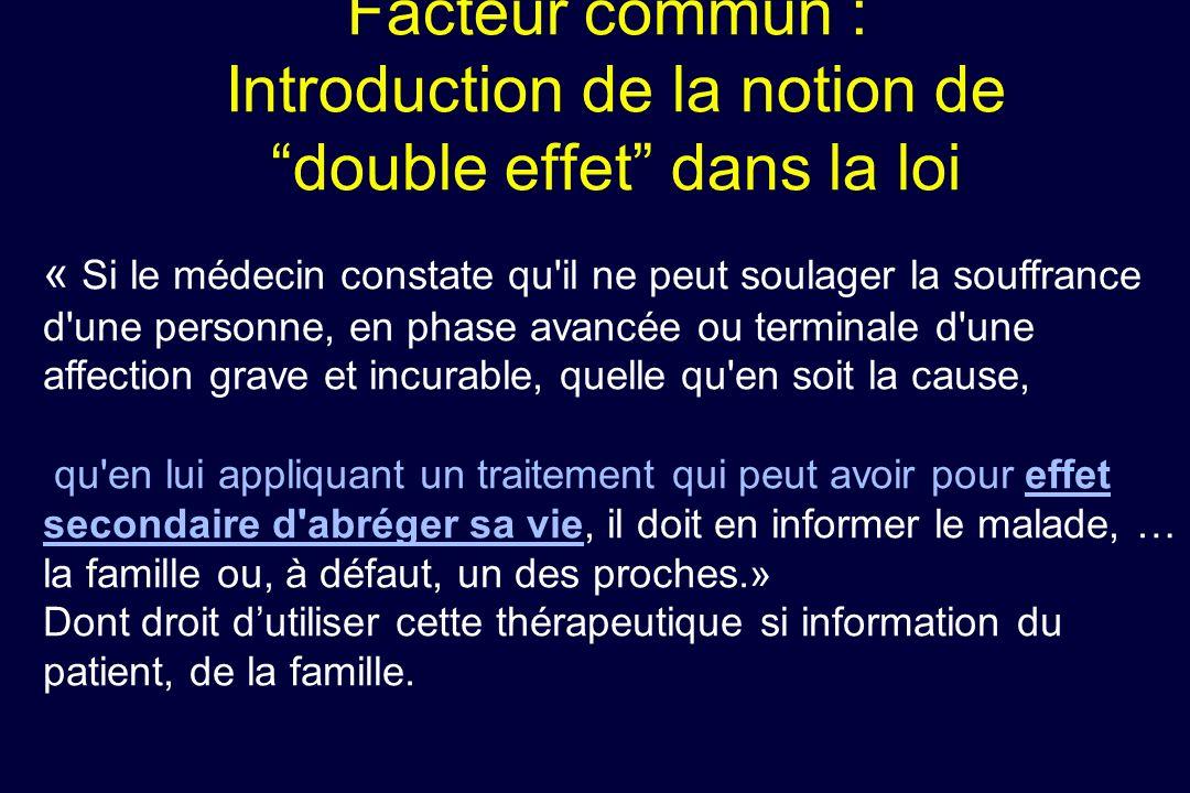 Facteur commun : Introduction de la notion de double effet dans la loi « Si le médecin constate qu'il ne peut soulager la souffrance d'une personne, e