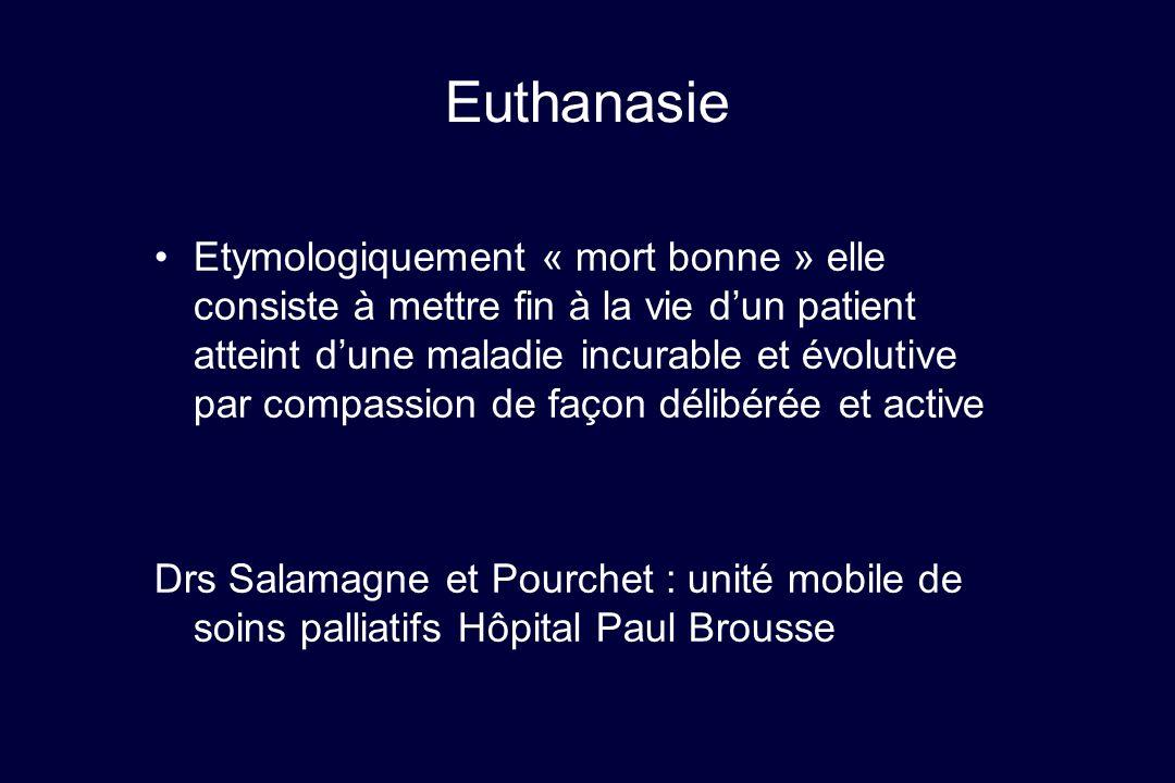 Euthanasie Etymologiquement « mort bonne » elle consiste à mettre fin à la vie dun patient atteint dune maladie incurable et évolutive par compassion