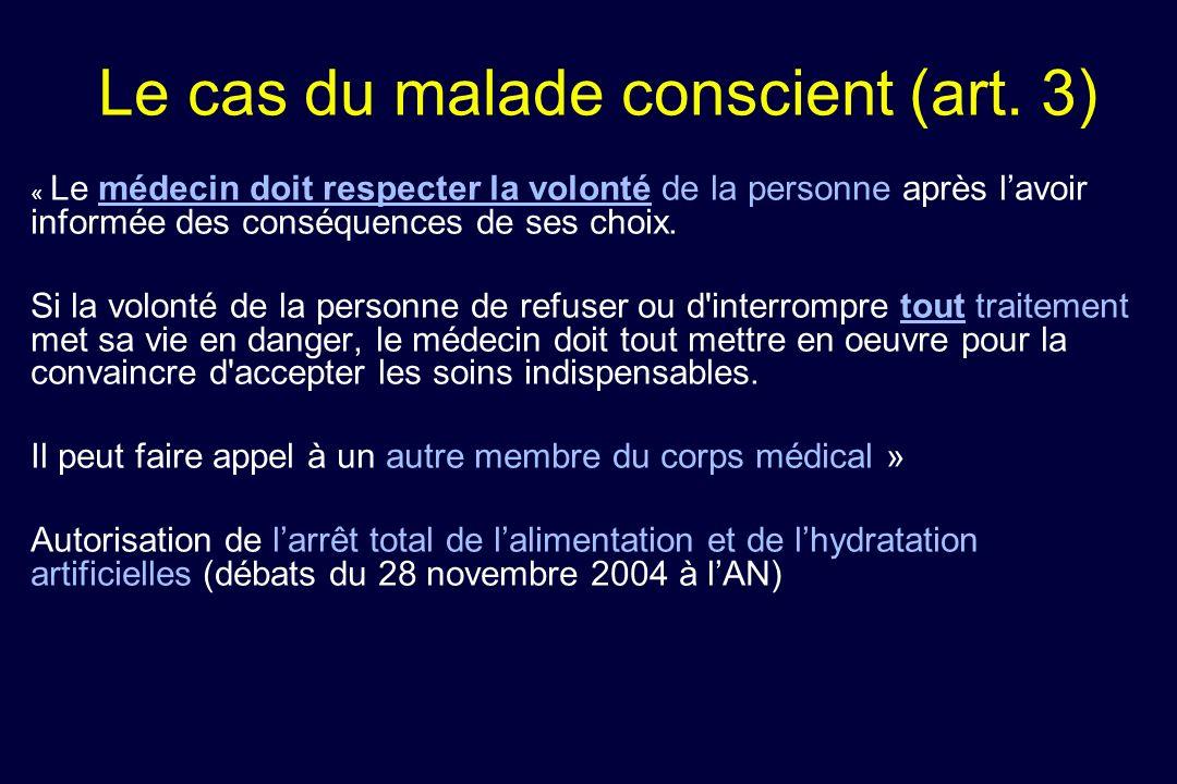 Le cas du malade conscient (art. 3) « Le médecin doit respecter la volonté de la personne après lavoir informée des conséquences de ses choix. Si la v