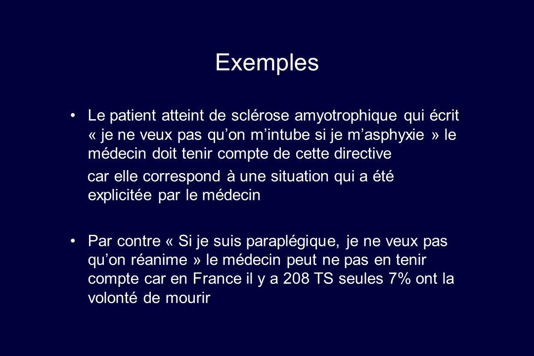 Exemples Le patient atteint de sclérose amyotrophique qui écrit « je ne veux pas quon mintube si je masphyxie » le médecin doit tenir compte de cette