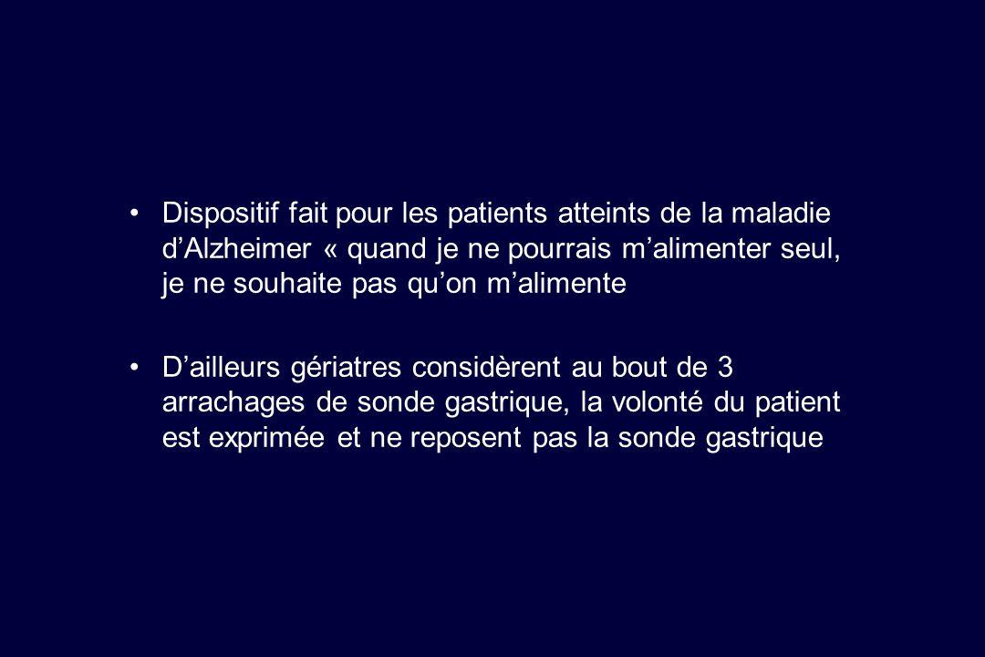 Dispositif fait pour les patients atteints de la maladie dAlzheimer « quand je ne pourrais malimenter seul, je ne souhaite pas quon malimente Dailleur