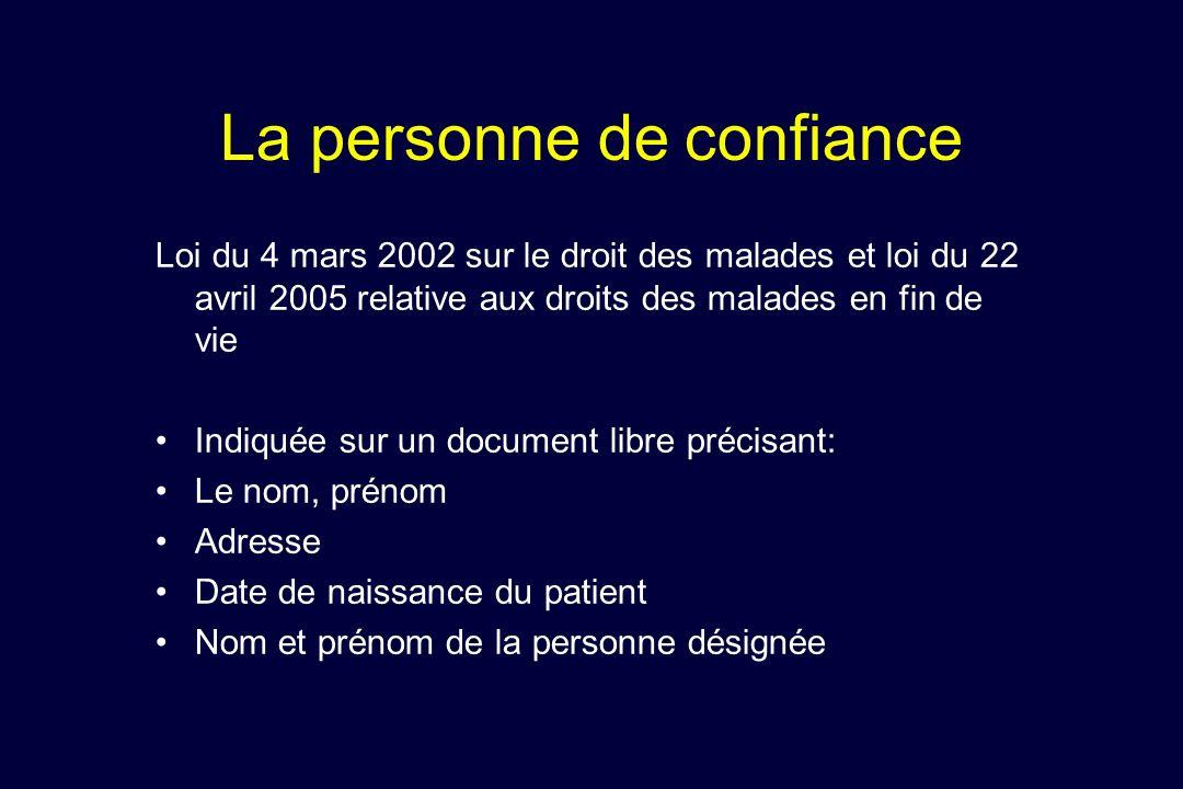 La personne de confiance Loi du 4 mars 2002 sur le droit des malades et loi du 22 avril 2005 relative aux droits des malades en fin de vie Indiquée su