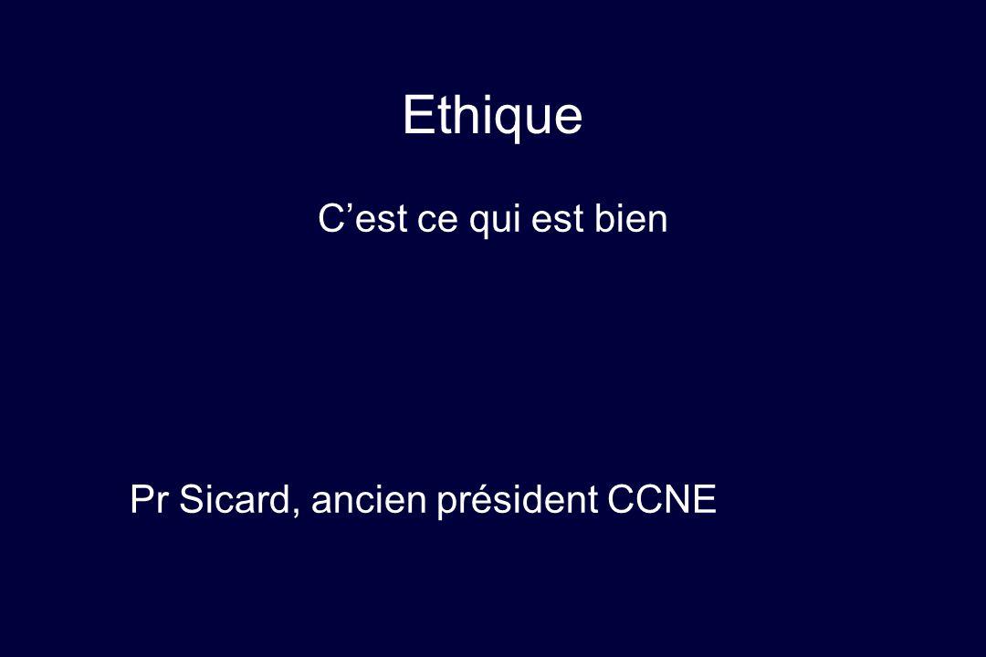Ethique Cest ce qui est bien Pr Sicard, ancien président CCNE