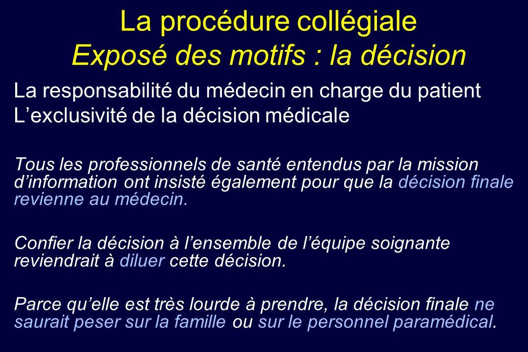 La procédure collégiale Exposé des motifs : la décision La responsabilité du médecin en charge du patient Lexclusivité de la décision médicale Tous le