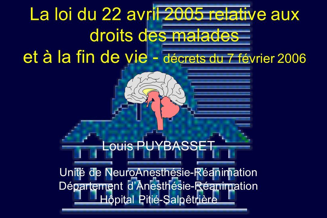 Louis PUYBASSET Unité de NeuroAnesthésie-Réanimation Département dAnesthésie-Réanimation Hôpital Pitié-Salpêtrière La loi du 22 avril 2005 relative au