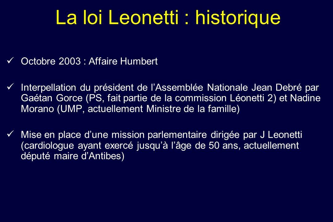 Mesures principales de la Loi du 22 avril 2005 relative aux droits des malades en fin de vie (dite Loi Leonetti) 1.Assurer la dignité du patient en toute circonstance.