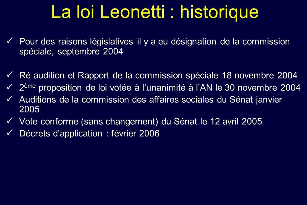 La loi Leonetti : historique Pour des raisons législatives il y a eu désignation de la commission spéciale, septembre 2004 Ré audition et Rapport de l