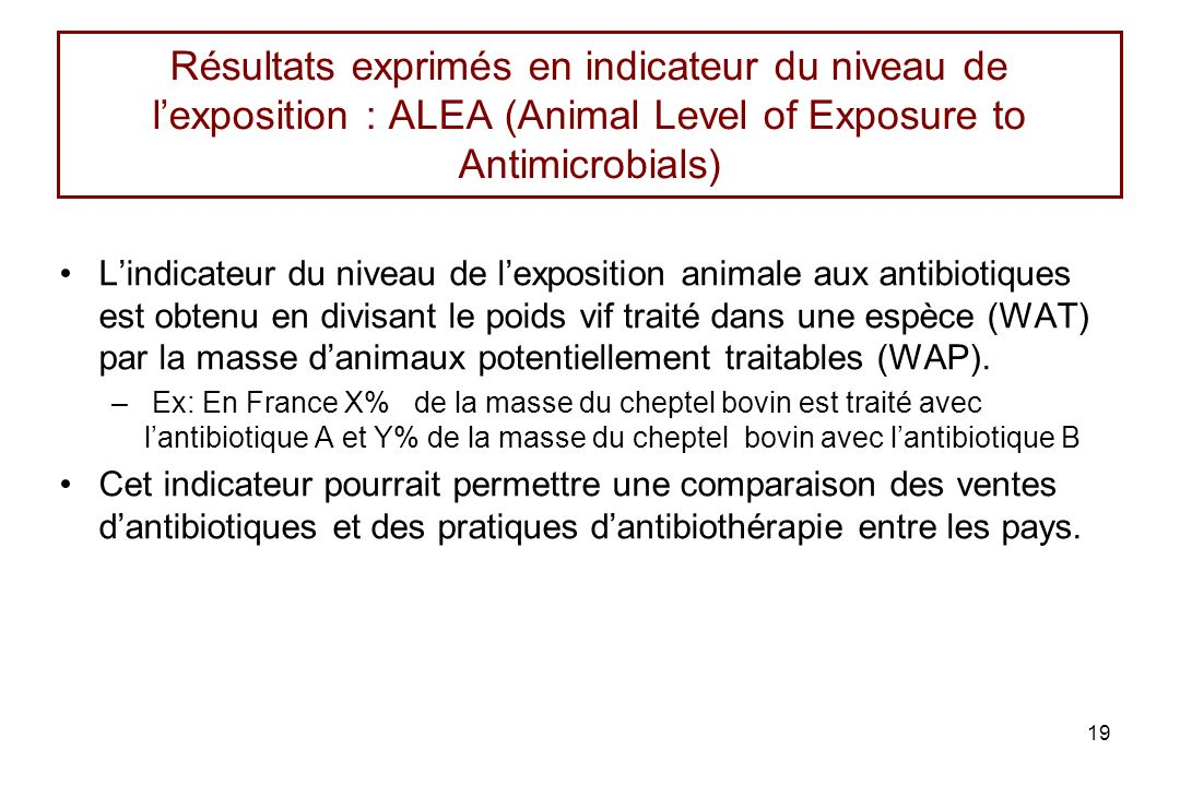 19 Résultats exprimés en indicateur du niveau de lexposition : ALEA (Animal Level of Exposure to Antimicrobials) Lindicateur du niveau de lexposition