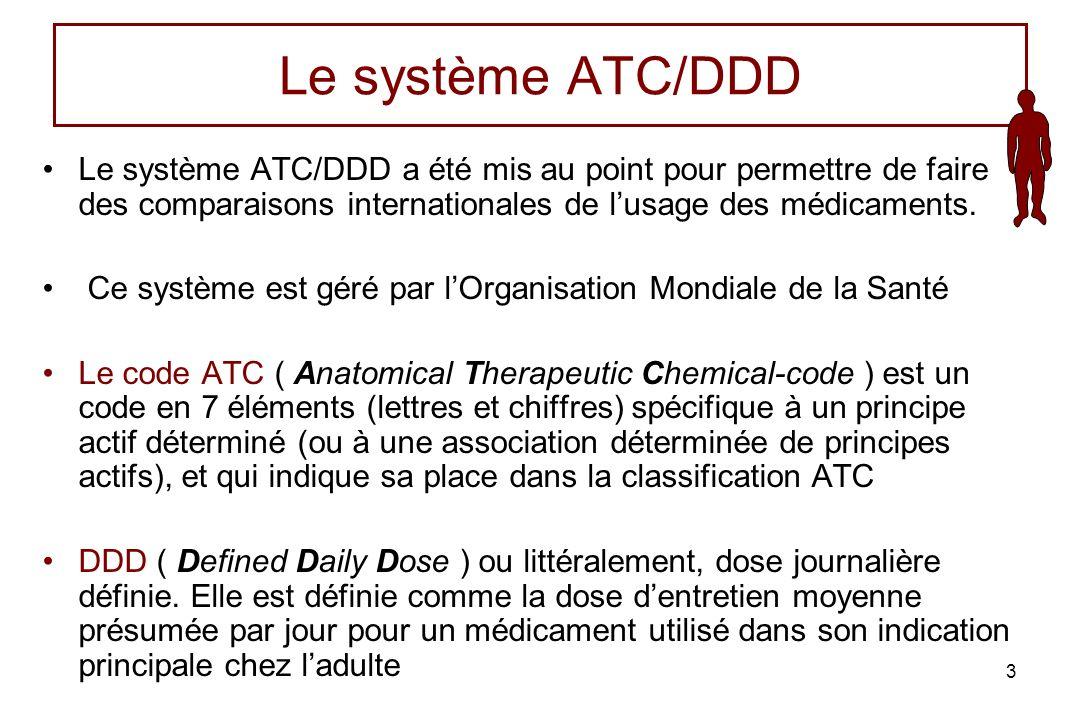 4 La Dose Moyenne Standard ou DDD ( Defined Daily Dose ) La DDD est une estimation de la quantité de principe actif que reçoit un adulte dun poids corporel denviron 70 kg par jour (comme dose dentretien en cas de traitement chronique) lorsque le médicament est prescrit pour son indication principale.