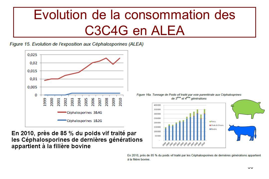 Evolution de la consommation des C3C4G en ALEA 36 En 2010, près de 85 % du poids vif traité par les Céphalosporines de dernières générations appartien