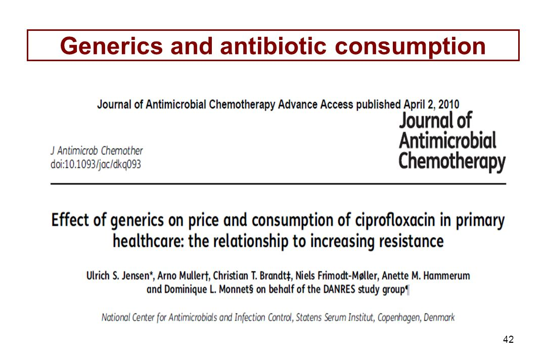 42 Generics and antibiotic consumption