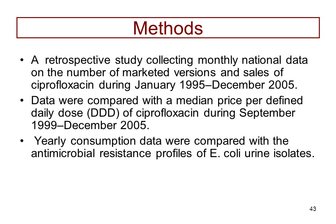 43 Methods A retrospective study collecting monthly national data on the number of marketed versions and sales of ciprofloxacin during January 1995–De