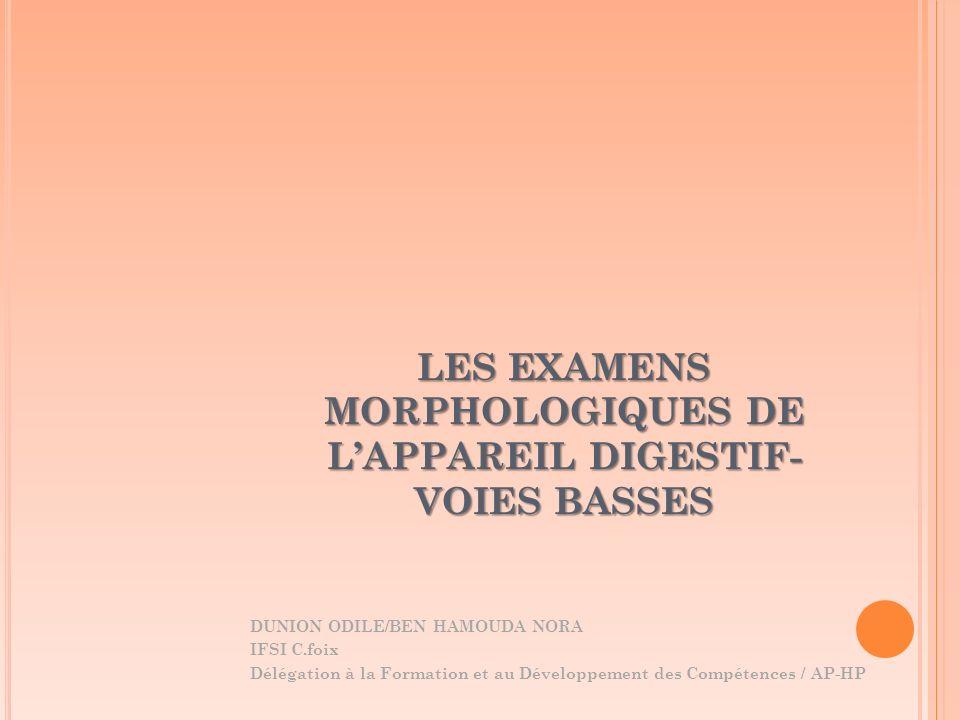 LES EXAMENS MORPHOLOGIQUES DE LAPPAREIL DIGESTIF- VOIES BASSES DUNION ODILE/BEN HAMOUDA NORA IFSI C.foix Délégation à la Formation et au Développement
