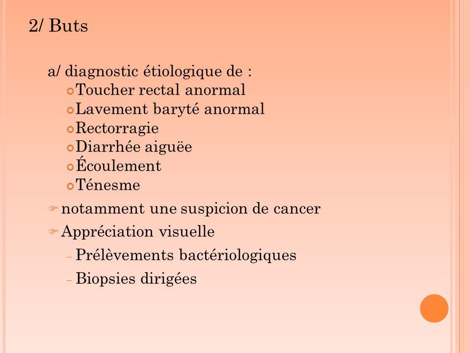 2/ Buts a/ diagnostic étiologique de : Toucher rectal anormal Lavement baryté anormal Rectorragie Diarrhée aiguëe Écoulement Ténesme notamment une sus