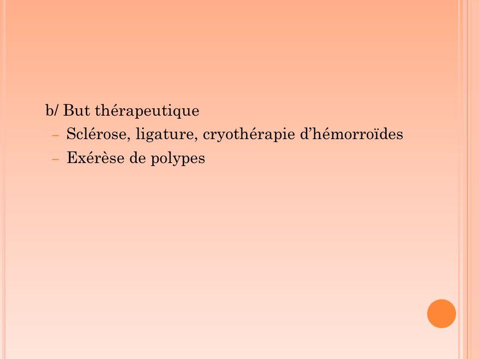 b/ But thérapeutique – Sclérose, ligature, cryothérapie dhémorroïdes – Exérèse de polypes
