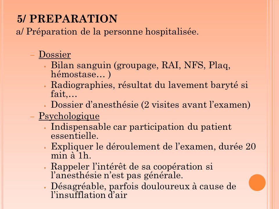 5/ PREPARATION a/ Préparation de la personne hospitalisée. – Dossier Bilan sanguin (groupage, RAI, NFS, Plaq, hémostase… ) Radiographies, résultat du